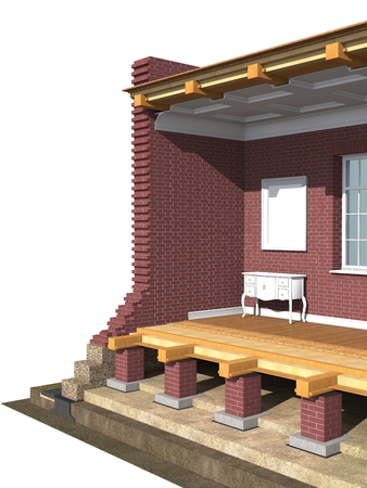 floor covering: Cross section of brick house. 3D architectural visualization isolated on white Stock Photo