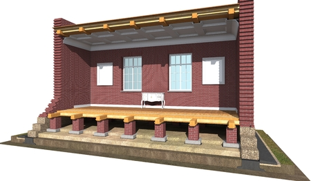 visualization: Cross section of brick house. 3D architectural visualization isolated on white Stock Photo