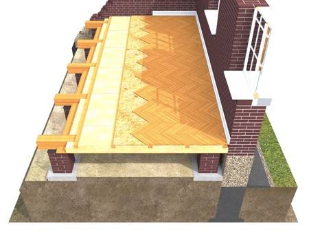 balk: Cross section of brick house. 3D architectural visualization isolated on white Stock Photo