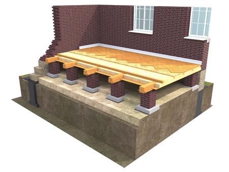 Dwarsdoorsnede van bakstenen huis. 3D architecturale visualisatie geïsoleerd op wit