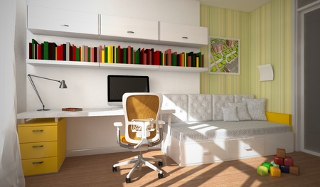 desk toy: Modern interior of the child-room 3D rendering