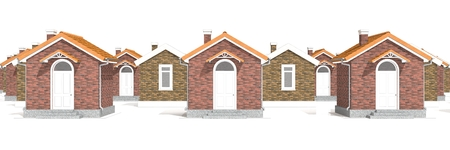 estate planning: Architecture 3D model of brick houses isolated on white Stock Photo