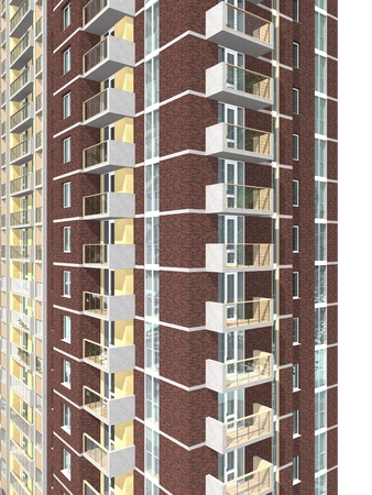 brick house: 3d rendering of modern multi-storey residential building isolated on white