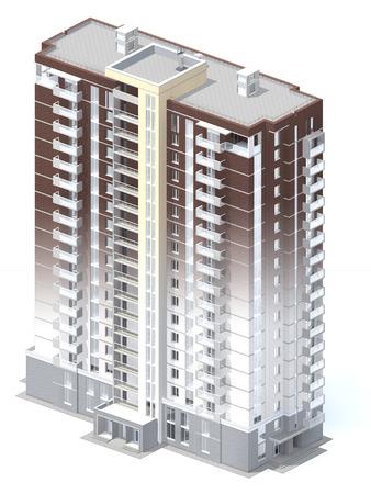 multistory: 3d rendering of modern multi-storey residential building isolated on white