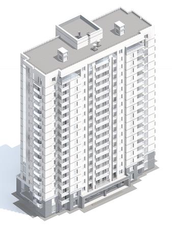 multistorey: 3d rendering of modern multi-storey residential building isolated on white
