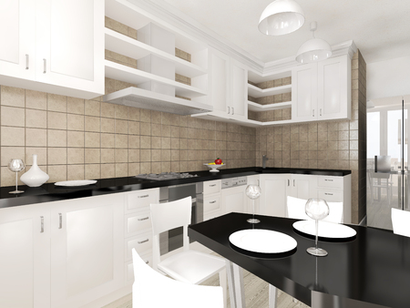 modern kitchen: Modern interior of the kitchen 3D visualization Stock Photo