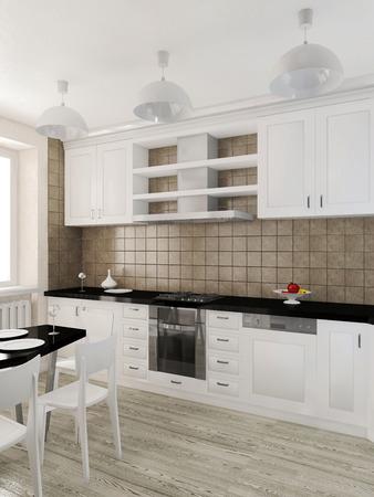 visualization: Modern interior of the kitchen 3D visualization Stock Photo