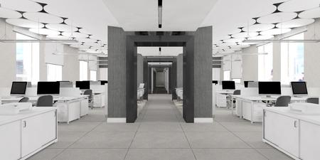 Nobody modern office work place interior visualization Фото со стока