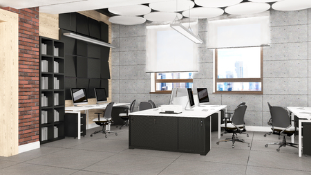 the director: Empty modern office interior work place visualization