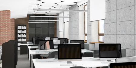 Empty modern office interior work place visualization