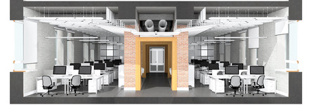 Cross section of the office space. Architectural visualization isolated on white