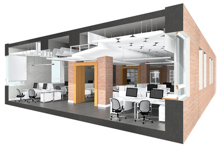 sections: Cross section of the office space. Architectural visualization isolated on white