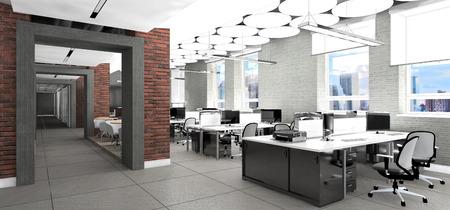 ergonomic: Empty modern office interior work place visualization