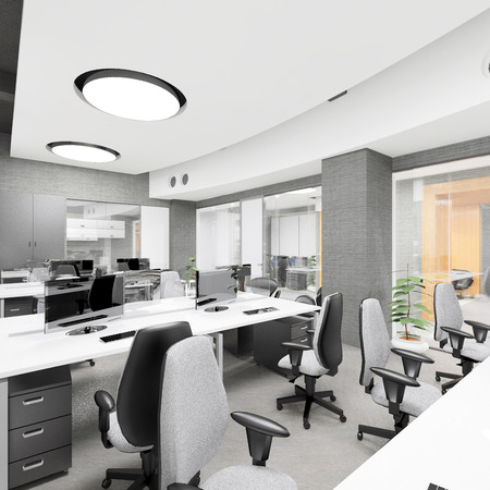 director chair: Empty modern office interior work place visualization