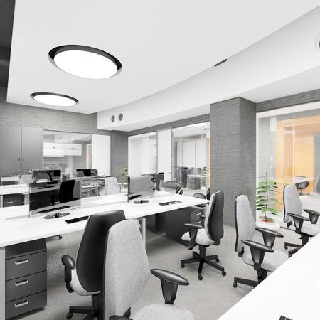 personas trabajando en oficina: Vac�o moderno interior de la oficina lugar de trabajo de visualizaci�n Foto de archivo