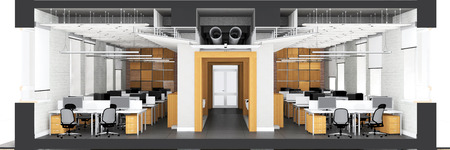 office space: Cross section of the office space. Architectural visualization isolated on white