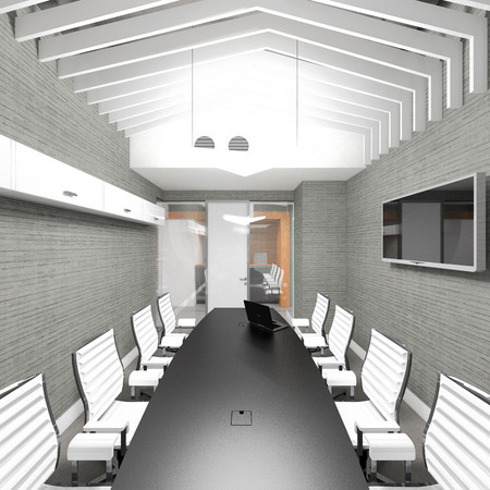 oficina ejecutiva: Empty modern office interior meeting room visualization