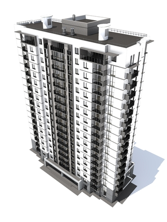 balcony view: 3d rendering of modern multi-storey residential building