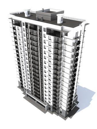 rendering: 3d rendering of modern multi-storey residential building