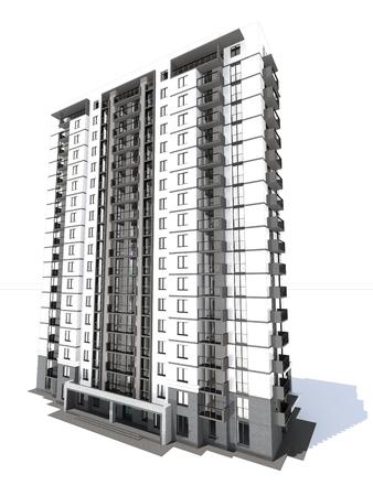 multistorey: 3d rendering of modern multi-storey residential building