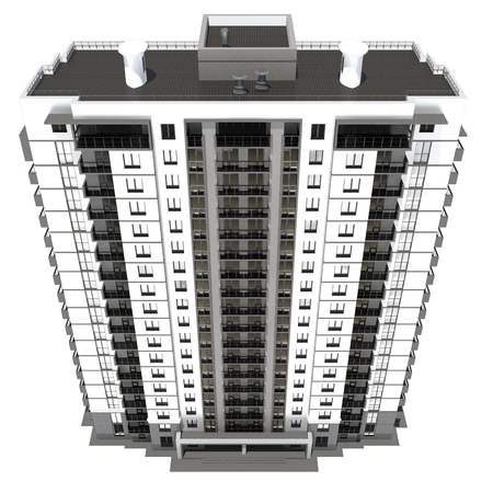 multistory: 3d rendering of modern multi-storey residential building