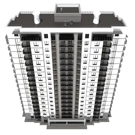 multi story: 3d rendering of modern multi-storey residential building