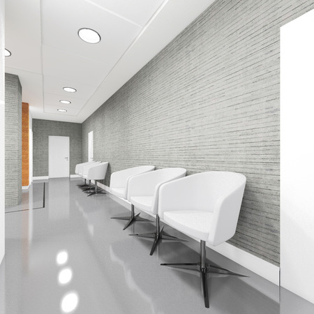 office entrance: Office Entrance Area interior with armchair 3D illustration Stock Photo