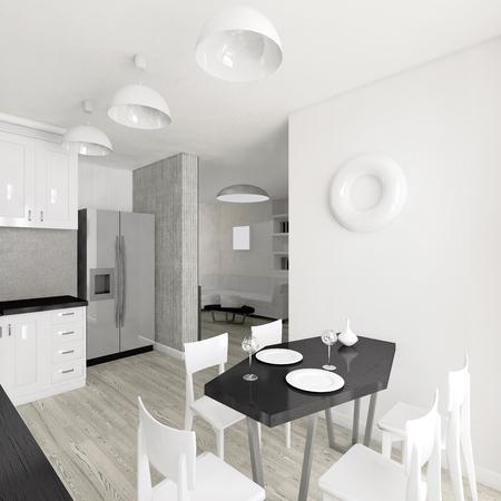 modern kitchen: Modern interior of the kitchen 3D illustration