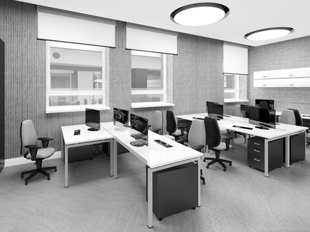 office window view: Empty modern office interior work place 3D illustration Stock Photo