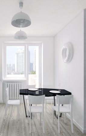 modern kitchen: Modern interior of the kitchen 3D visualization Stock Photo