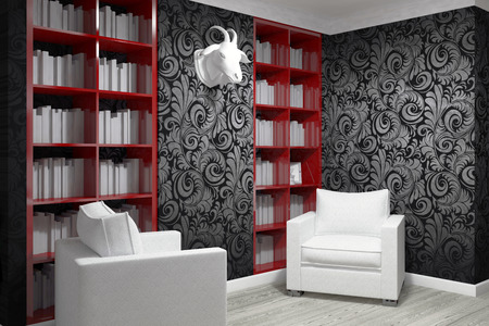 armchairs: Studying room with two armchairs and bookshelfs