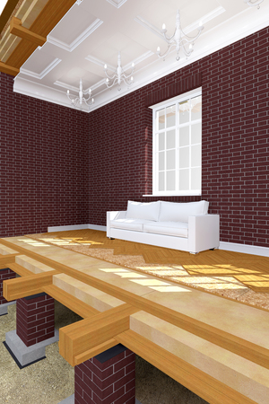 brick house: Cross section of brick house. 3D architectural illustration