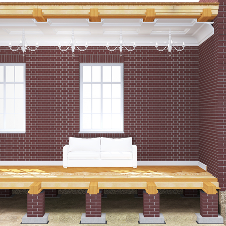 girders: Cross section of brick house. 3D architectural illustration