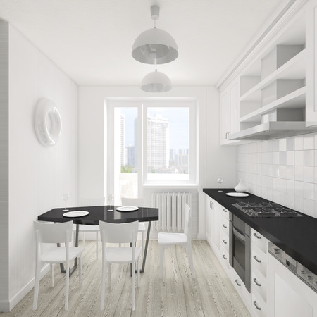 visualization: Modern interior of the kitchen 3D visualization Stock Photo