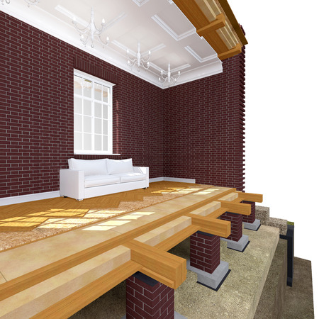 cross section: Cross section of brick house. 3D architectural illustration