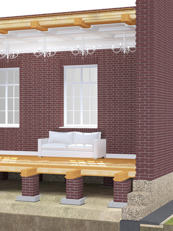 balk: Cross section of brick house. 3D architectural illustration