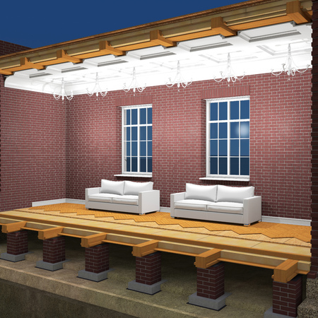 balk: Cross section of brick house at night. 3D rendering Stock Photo