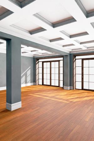 hardwood floor: Empty living room interior with hardwood floor. 3D illustration Stock Photo