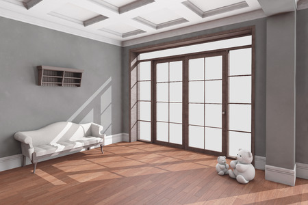 classic style: Classic living room interior with hardwood floor. 3D illustration