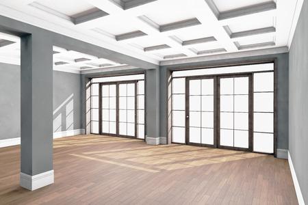 hardwood: Empty living room interior with hardwood floor. 3D illustration Stock Photo