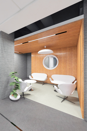 office lobby: office lobby with a reception desk visualization