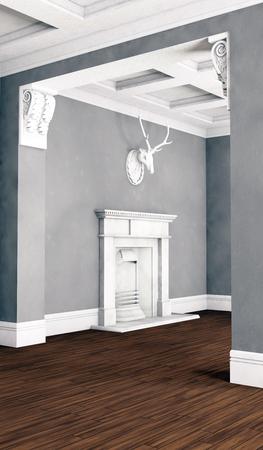 hardwood floor: Classic living room interior with hardwood floor. 3D illustration