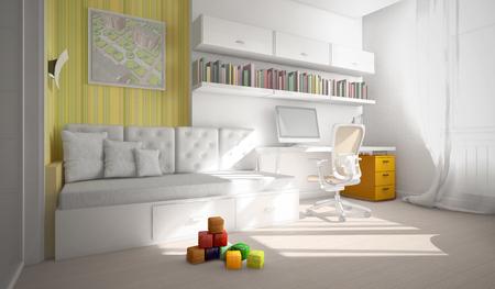 modern interior: Modern interior of the child-room 3D rendering