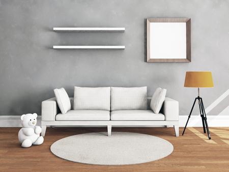 Living room interior with hardwood floor. 3D illustration