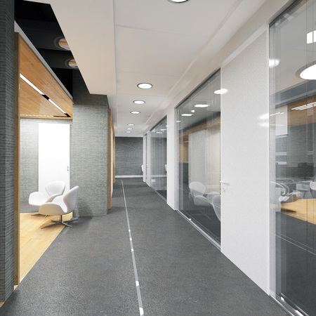 couloir du bâtiment de bureaux moderne visualisation 3D