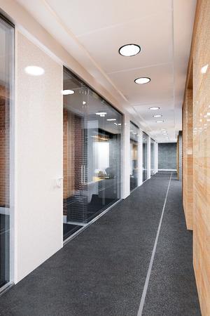 corridor of modern office building 3D visualization