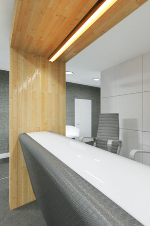 office lobby: office lobby and corridor with a reception desk 3D visualization