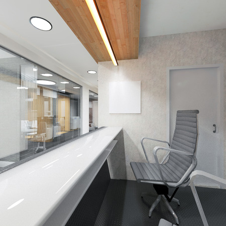 office lobby and corridor with a reception desk 3D visualization