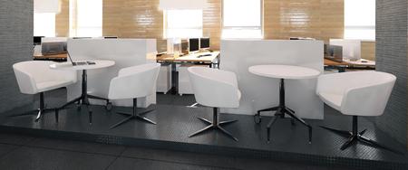 Empty modern office interior work place 3D illustration Фото со стока
