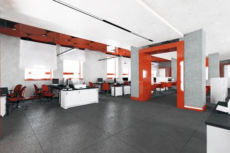 空の近代的なオフィス インテリアの仕事場所の 3次元可視化